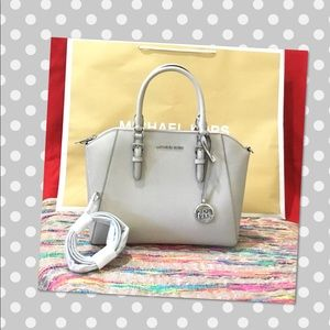 Michael Kors Ciara Large TZ Satchel Crossbody Gray